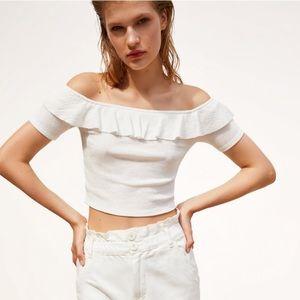 Zara Ruffled White Top M 241/n